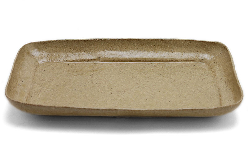 灰釉角皿23.5×13cm・有松進