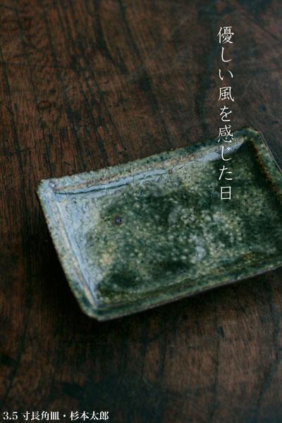 3.5寸長角皿・杉本太郎