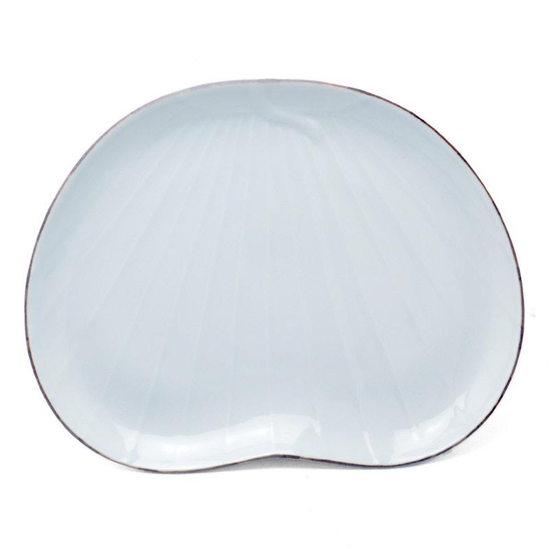 白磁口紅団扇皿・水野克俊
