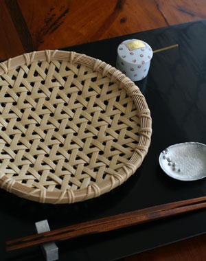 亀甲編竹皿7寸