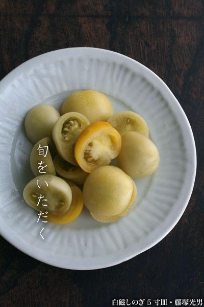 白磁しのぎ5寸皿  藤塚光男