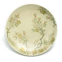 京焼・色絵白もり桜紋4寸皿・伏原博之