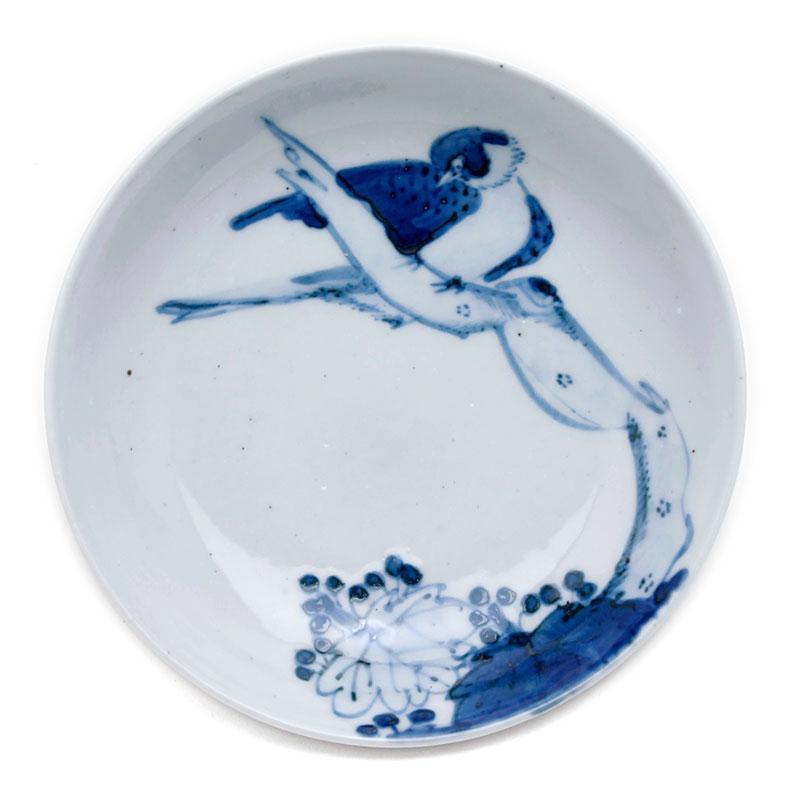 九谷焼:染付枯木に鳥図皿・正木春蔵
