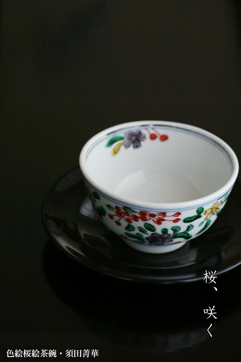 色絵桜絵茶碗・須田菁華