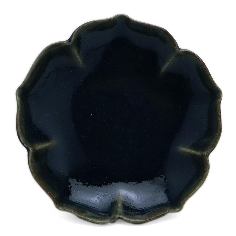 瑠璃釉桔梗豆皿・岸野寛