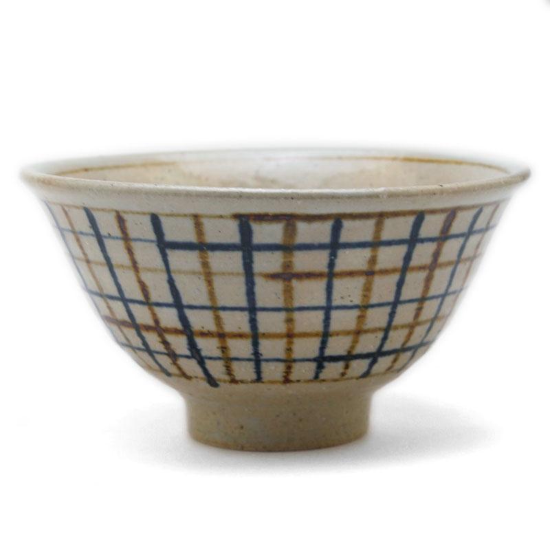 呉須鉄格子紋飯碗・杉本寿樹