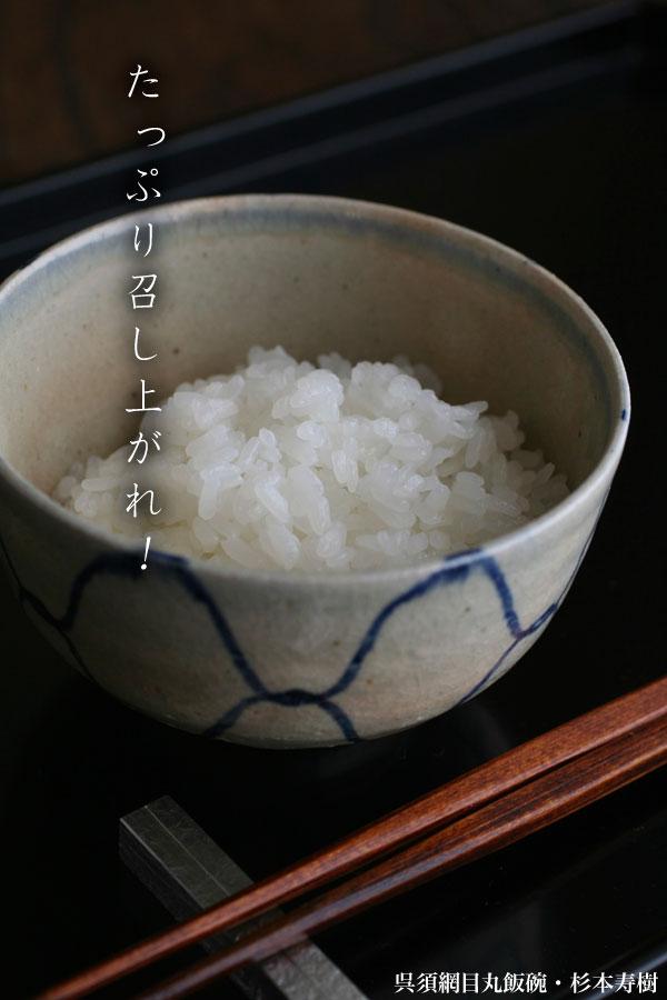 【一汁一菜】お味噌汁中心の食事:呉須網目丸飯碗・杉本寿樹