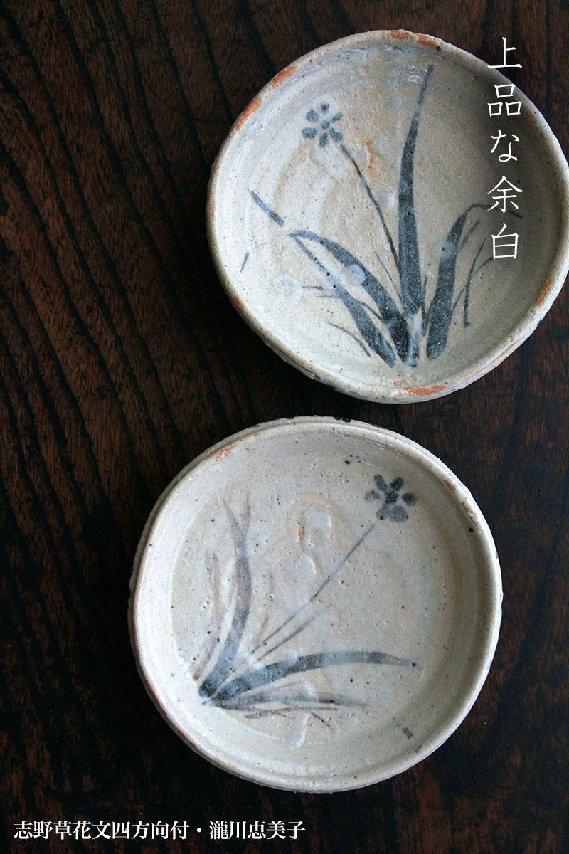 志野焼:志野草花文四方向付・瀧川恵美子