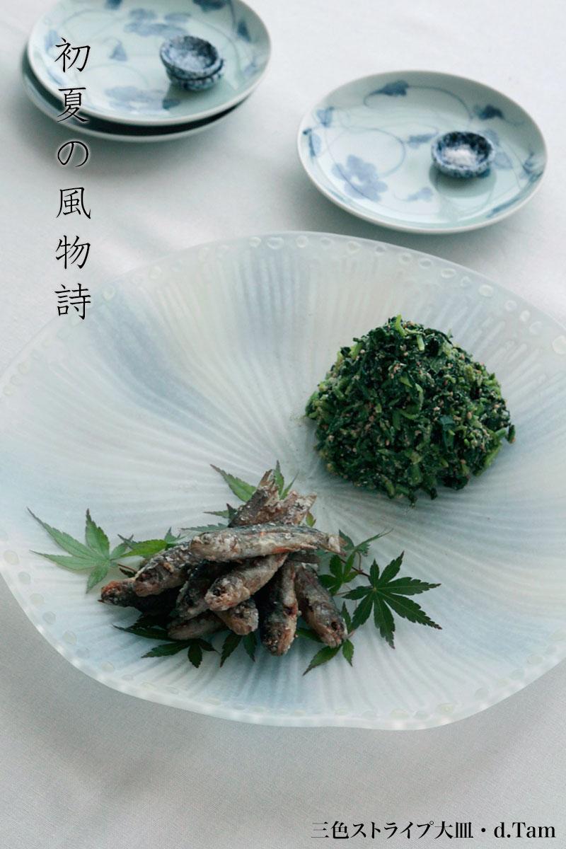 三色ストライプ大皿・青・d.Tam