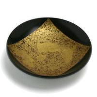 漆器・山中漆器:平盃・色紙金箔・黒・守田漆器
