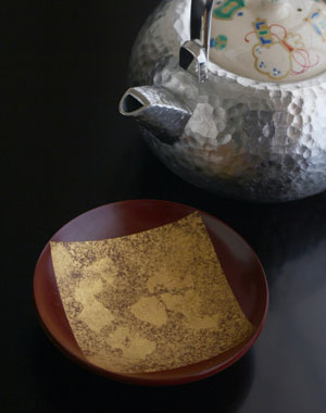 京焼・色絵扇面散らし汲平盃(色紙金箔)・守田漆器出