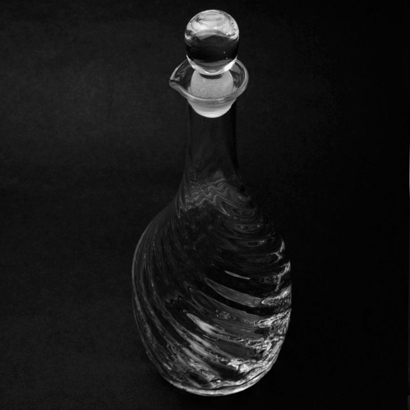 ガラス:モールデカンタ・栓付・福地ガラス工房