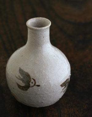 粉引蕎麦形平鉢(縁鉄)