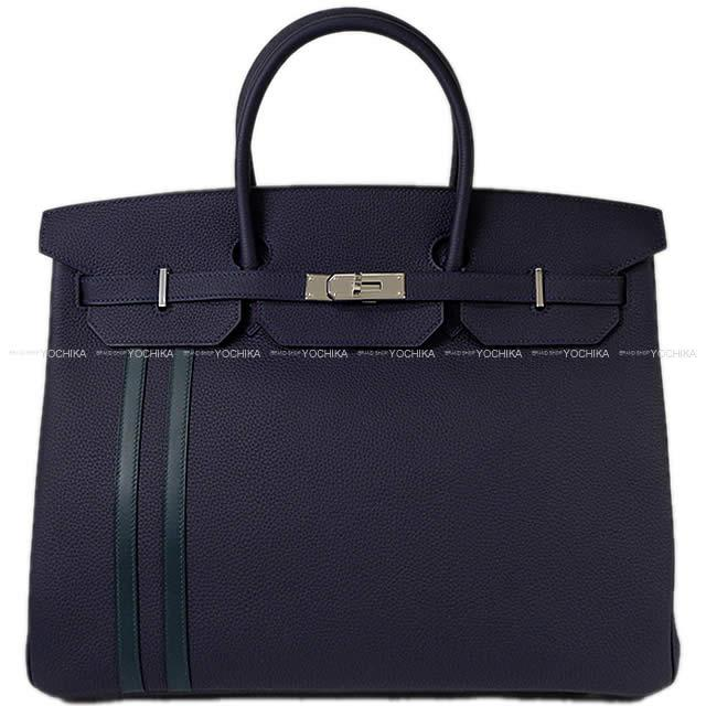 2064e6b99fe0 HERMES Hermes handbag Birkin 40 officer (オフィシエ) ブルーニュイ   ヴェールシプレ (cypress)  トゴ   swift silver metal fittings new article
