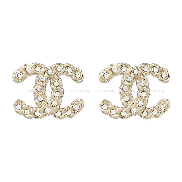 Latest Chanel Rhinestone In Chain Here Mark Pierced Earrings Gold Ab0595 Is New The Summer Spring Of 2019