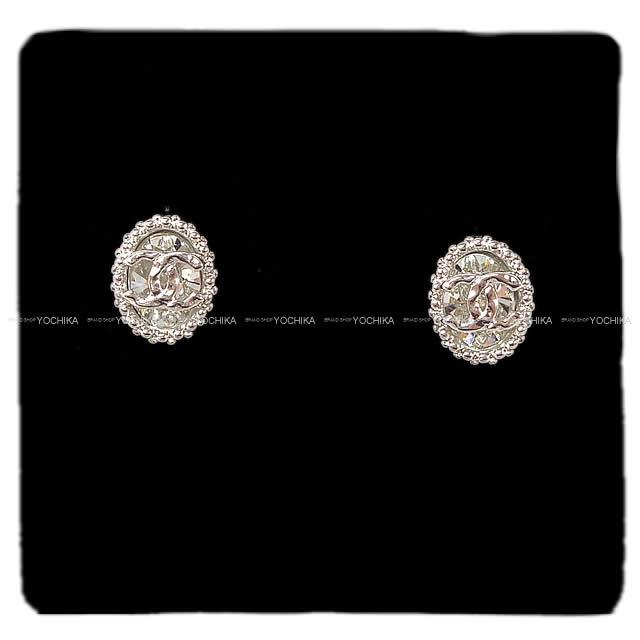79c37072ad79 CHANEL Chanel here mark round rhinestone pierced earrings silver X clear  AB1006 new article