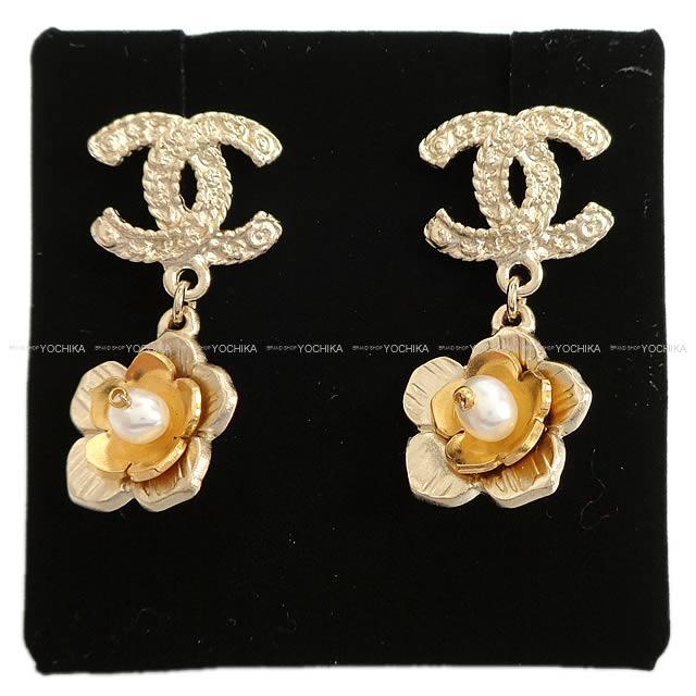Chanel Here Mark Double Flower Pearl Pierced Earrings Gold A99358 Is New