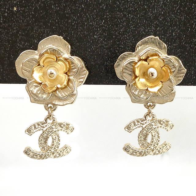 Chanel Here Mark Double Flower Pearl Earrings Gold A99359 Is New