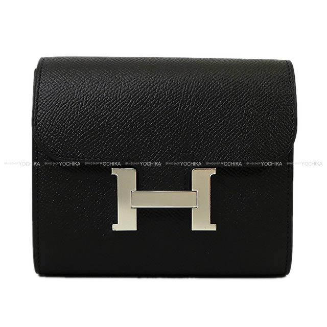 b62303bc7f9e HERMES Hermes wallet Constance compact black (black) Epson silver metal  fittings new article