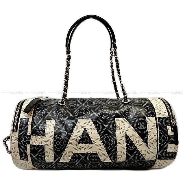 30112bc00f Latest CHANEL Chanel camellia   here mark logo bowling chain bag black X  beige print canvas X calfskin silver metal fittings A57428 is new in the  summer in ...