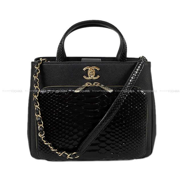 6d50457e09f2 Latest CHANEL Chanel here mark 2way Small shopping bag black (black) python  X goes wrong in the summer in the spring of 2018, and Indian calfskin  A93750 is ...