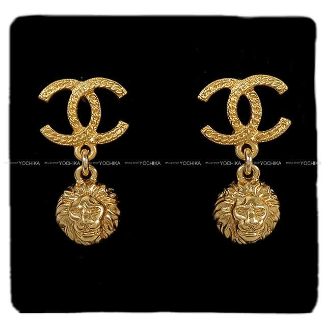 Chanel Here Mark Lion Hangs And Vintage Like Pierced Earrings Gold A58169 Is New