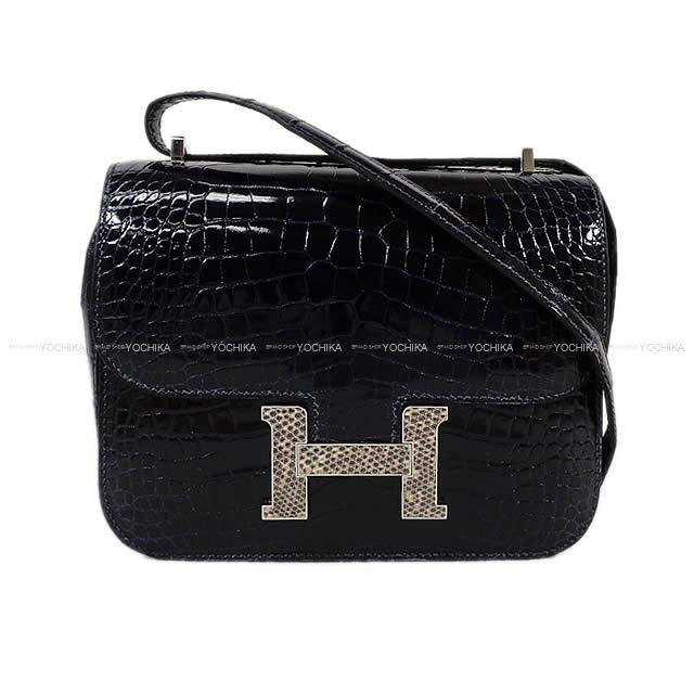 HERMES Hermes shoulder bag Constance 3 mini-18 blue Malin X on blurring  crocodile alligator X lizard silver metal fittings new article 96a3966d24561