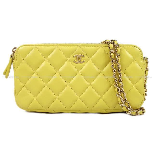 3cbc373f4c22 As well as CHANEL Chanel matelasse zip chain wallet clutch pochette  shoulder bag yellow lambskin A82527 champagne gold metal fittings new  article [used]