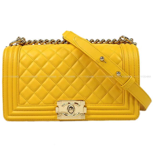 Chanel Boy Matelasse Chain Shoulder Bag Yellow Lambskin A67086 Gold Metal Ings Display New Article