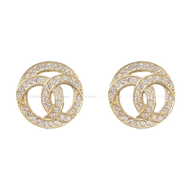 Chanel Design Here Mark Circle Rhinestone Pierced Earrings Gold Ab0687 Is New