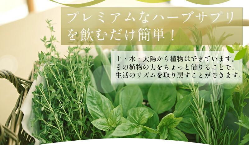 プレミアムなハーブサプリを飲むだけ簡単!土・水・太陽から植物はできています。その植物の力をちょっと借りることで、生活のリズムを取り戻すことができます。