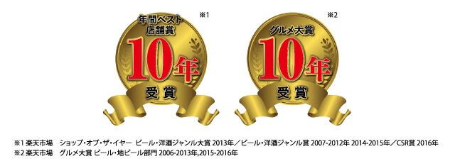 ショップ・オブ・ザ・イヤー、グルメ大賞10年受賞