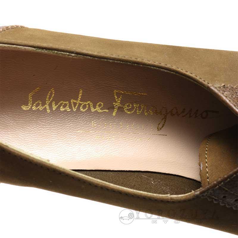 Salvatore Ferragamo サルヴァトーレ・フェラガモ レースアップシューズ DP 29964 スウェード/レザー グリーン カーキ 【中古】