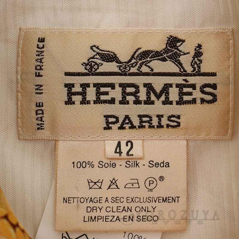 HERMES エルメス ベスト ジレ ジップアップ シルク ゴールド/ブラウン/ホワイト 総柄 麦/ウサギ バックリボン 【中古】