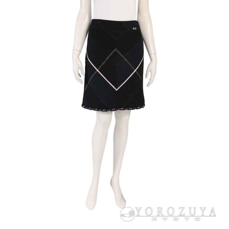 CHANEL シャネル スリーピースセット スカートスーツ P29905 V16362 M3069 コットン ウール ネイビー マルチカラー チェック柄 セットアップ ジャケット スカート 【中古】