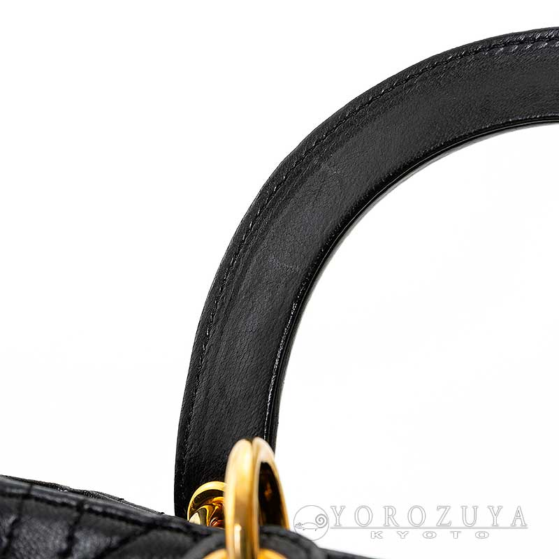 Christian Dior クリスチャン・ディオール レディディオール 2WAYバッグ レザー ブラック ショルダーバッグ ハンドバッグ GOLD金具 カナージュ 【中古】