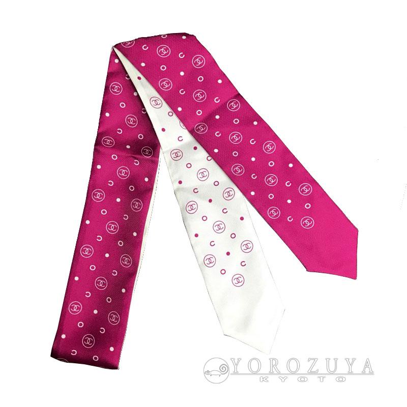 CHANEL シャネル ツイリー シルク ホワイト ピンク リボンスカーフ バンダナ CCマーク 【中古】
