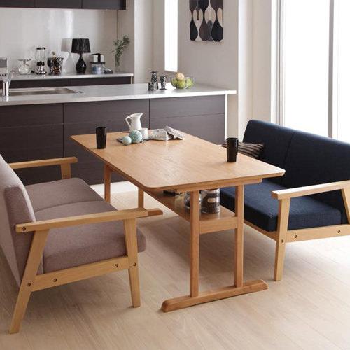 レイアウト自由なカフェ空間 モダンデザイン ソファダイニング 3点セット