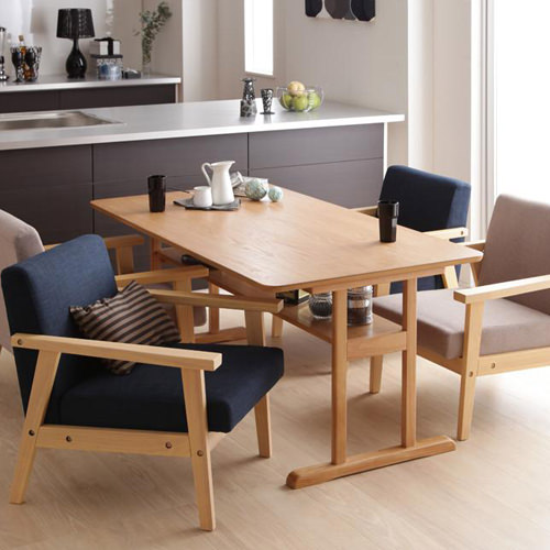 レイアウト自由なカフェ空間 モダンデザイン ソファダイニング 5点セット