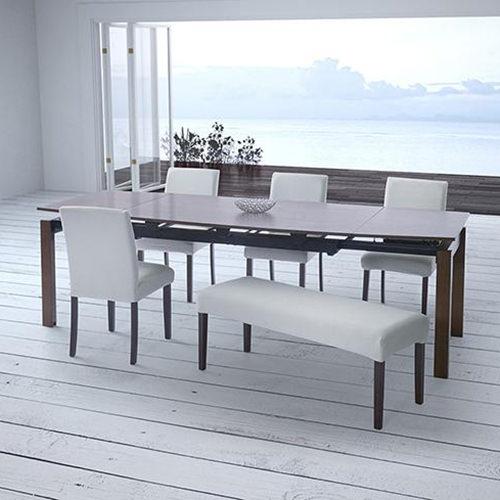 上質な空間 天然木ウォールナット材 デザイン伸縮ダイニングセット 6点セット