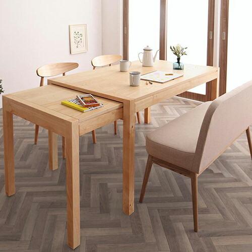 シンプルで実用的 北欧デザインスライド伸縮テーブルダイニング 4点セット