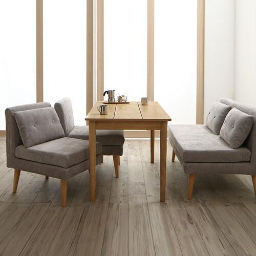 シンプルテイスト 北欧デザインソファ リビングダイニング 4点テーブルセット
