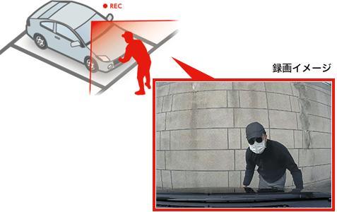 自動で駐車記録ができる(オプション)。動体検知機能搭載!