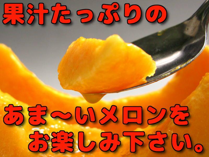 果汁たっぷりのあまーいメロンをお楽しみ下さい。
