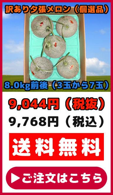 訳あり夕張メロン(8kg【3〜7玉】)