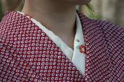 正絹 椿柄 縫い取り刺繍のかんたん半衿