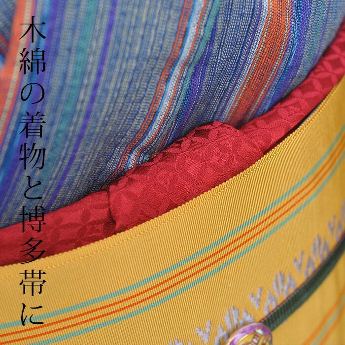 つゆくさ七宝地紋帯揚げの木綿の着物に合わせた画像
