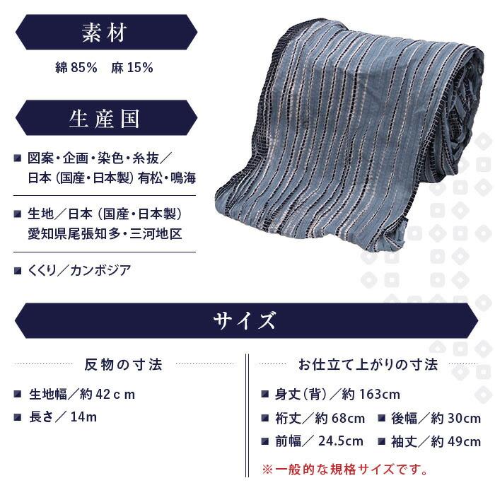 有松絞り 浴衣 2018 つゆくさ 11 素材サイズ