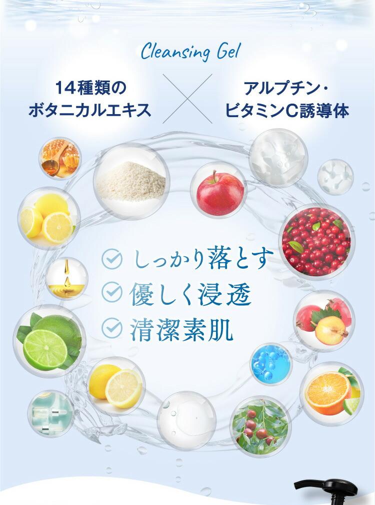 14種類のボタニカルエキスアルプチン・ビタミンC誘導体 しっかり落とす 優しく浸透 清潔素肌