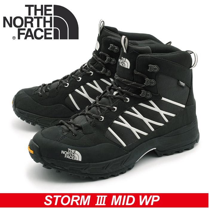 ノースフェース THE NORTH FACE トレッキングシューズ ストーム 3 ミッド ウォータープルーフ ブラック STORM 3 MID  WATER PROOF NF51621 KW メンズ 防水 登山靴